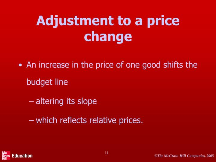 Adjustment to a price change