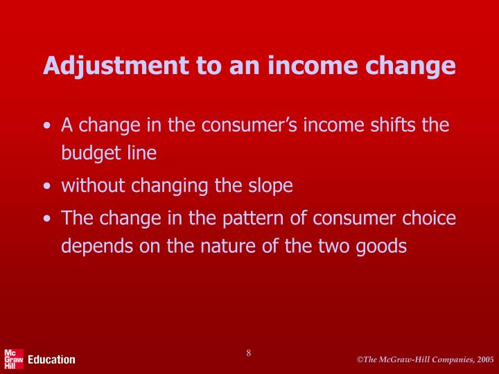 Adjustment to an income change