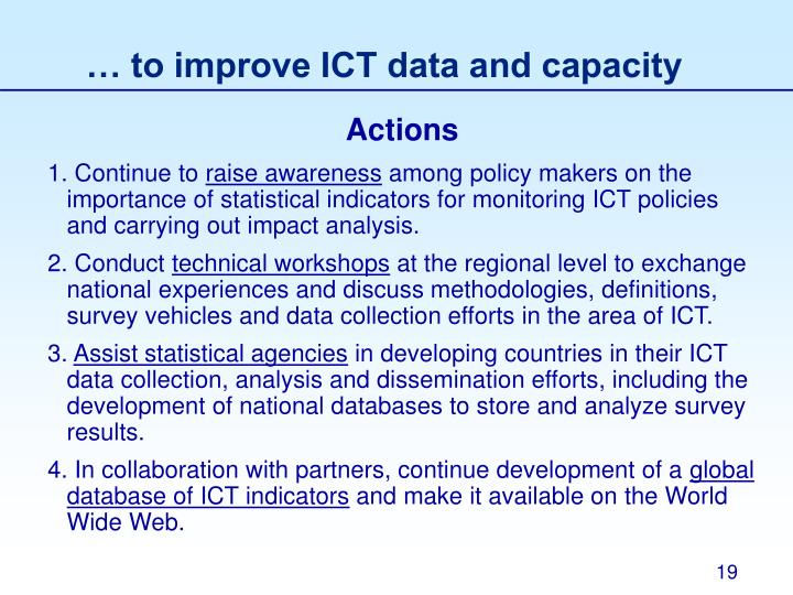 … to improve ICT data and capacity