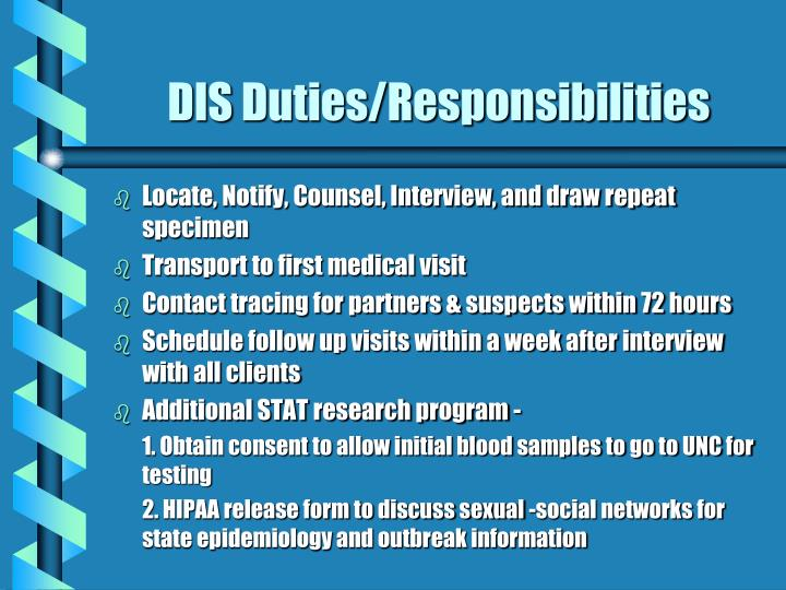DIS Duties/Responsibilities