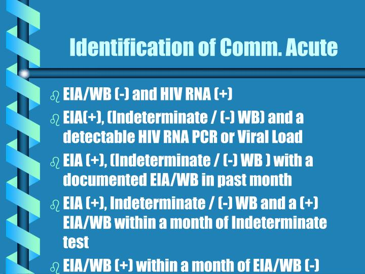 Identification of Comm. Acute