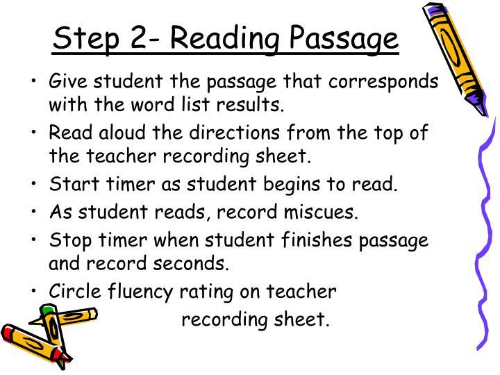 Step 2- Reading Passage