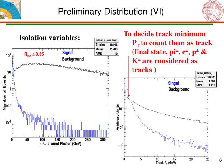 Preliminary Distribution (VI)
