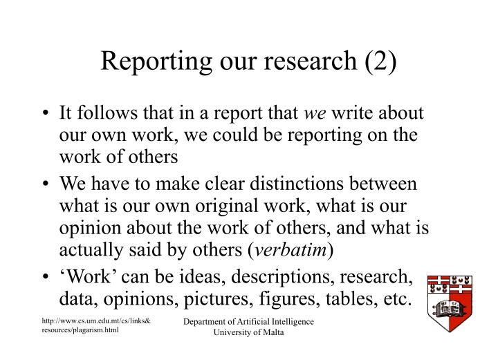 Reporting our research (2)