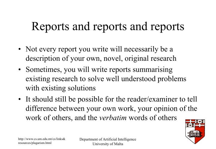 Reports and reports and reports