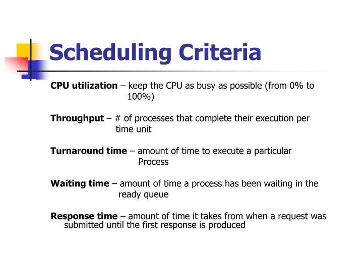 Scheduling Criteria