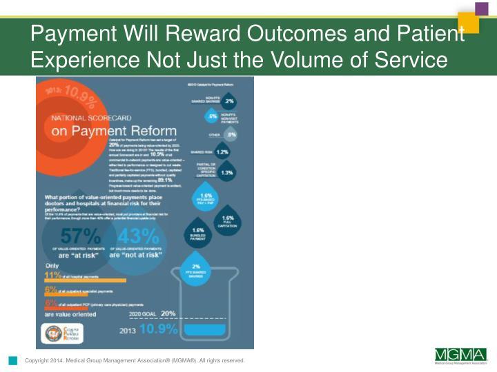 Payment Will Reward Outcomes and Patient Experience Not Just the Volume of