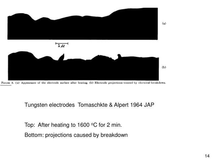 Tungsten electrodes  Tomaschkte & Alpert 1964 JAP