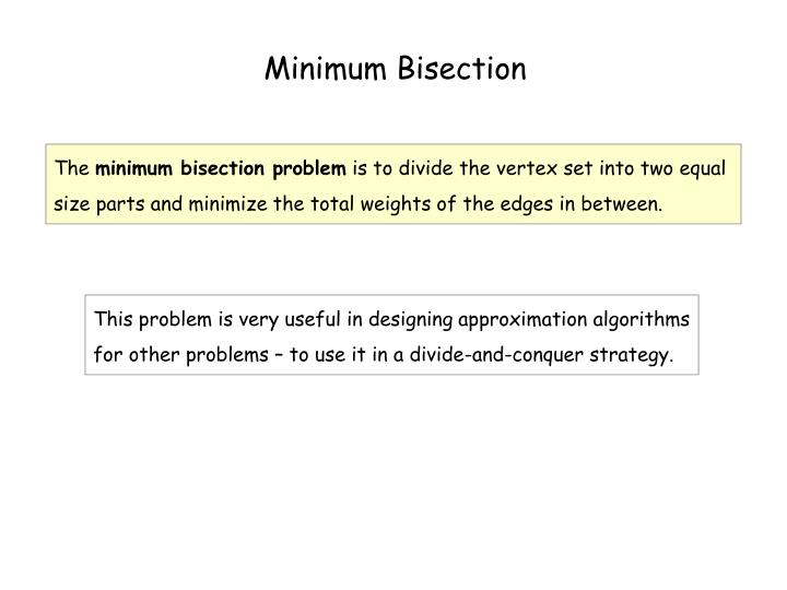 Minimum Bisection