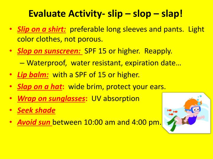 Evaluate Activity- slip – slop – slap!