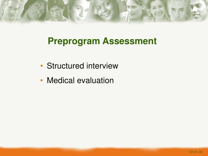 Preprogram Assessment