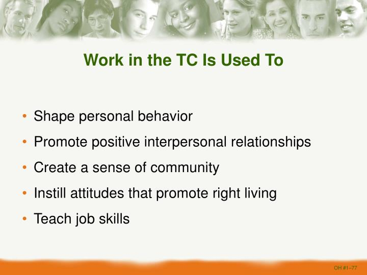 Work in the TC Is Used To