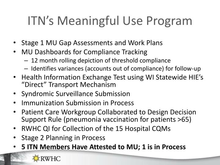 ITN's Meaningful Use Program