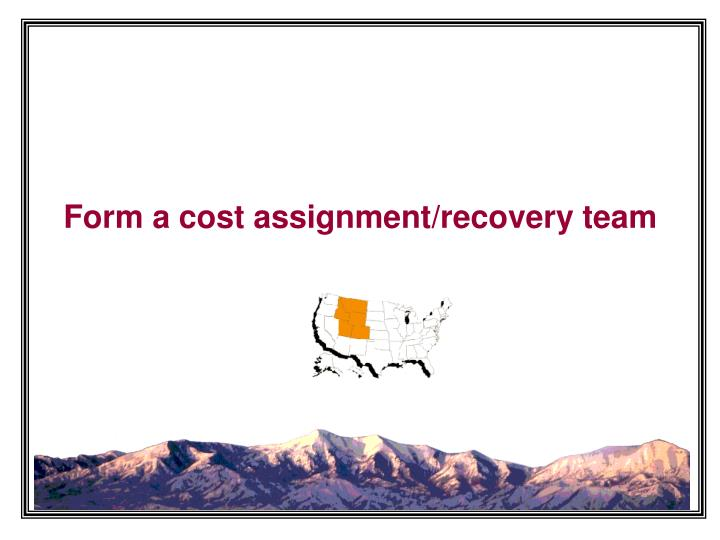 Form a cost assignment/recovery team