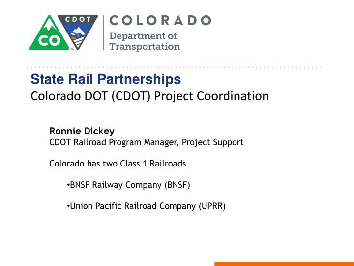 State rail partnerships colorado dot cdot project coordination