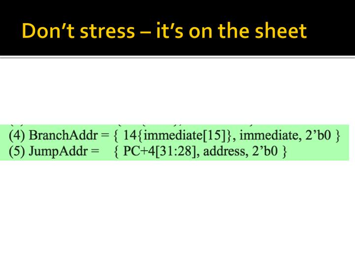 Don't stress – it's on the sheet