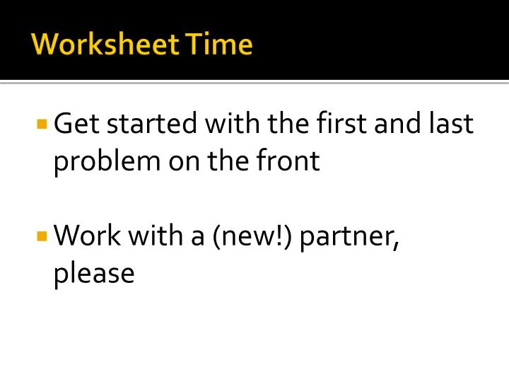 Worksheet Time