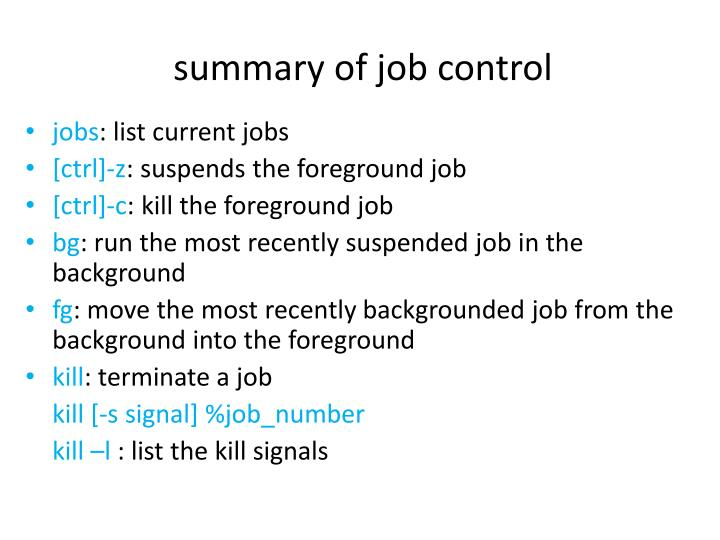 summary of job control