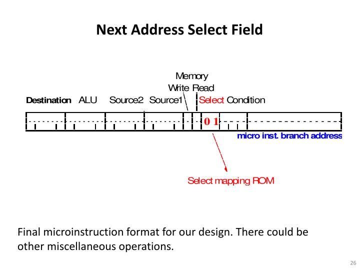 Next Address Select Field