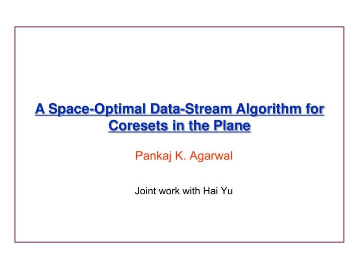 a space optimal data stream algorithm for coresets in the plane