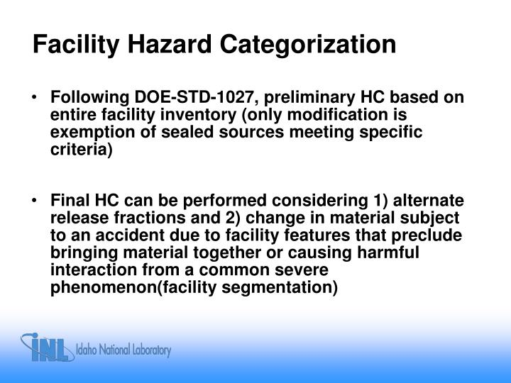 Facility Hazard Categorization