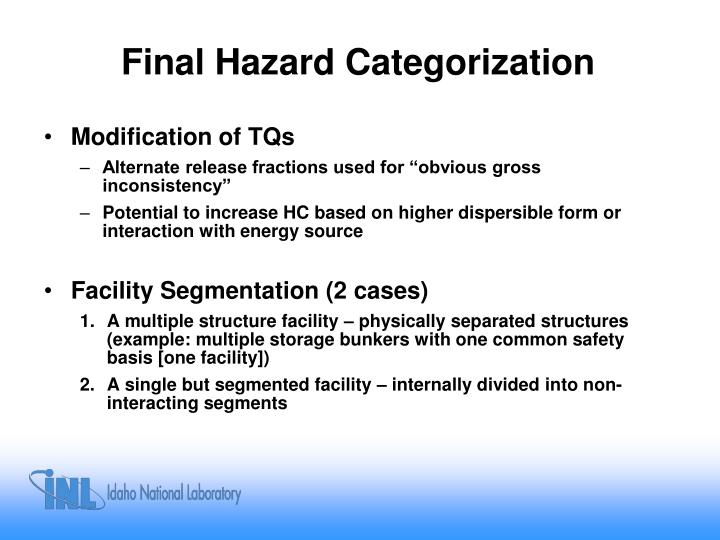 Final Hazard Categorization
