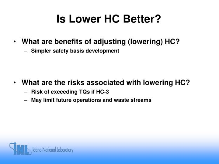 Is Lower HC Better?