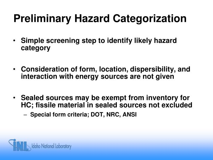 Preliminary Hazard Categorization
