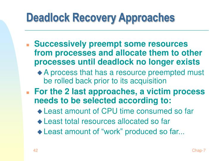 Deadlock Recovery Approaches
