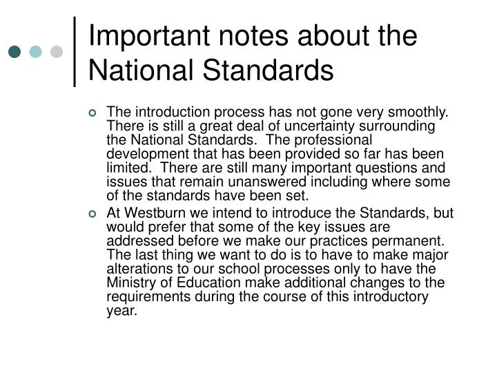 Important notes about the National Standards