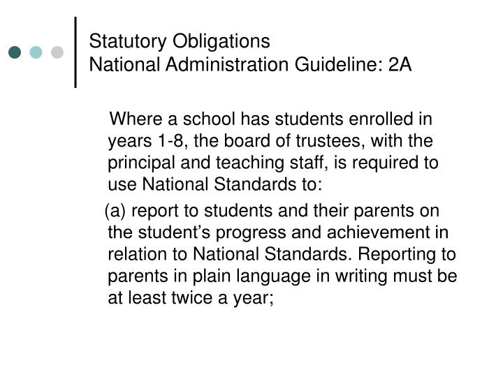 Statutory obligations national administration guideline 2a