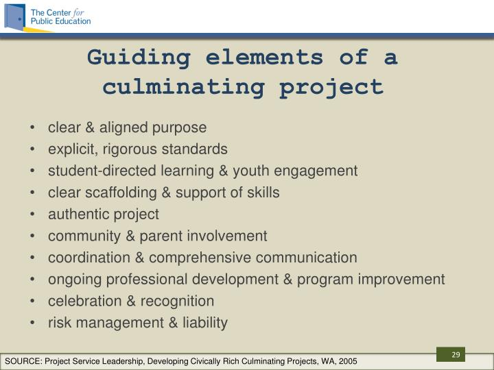 Guiding elements of a culminating project
