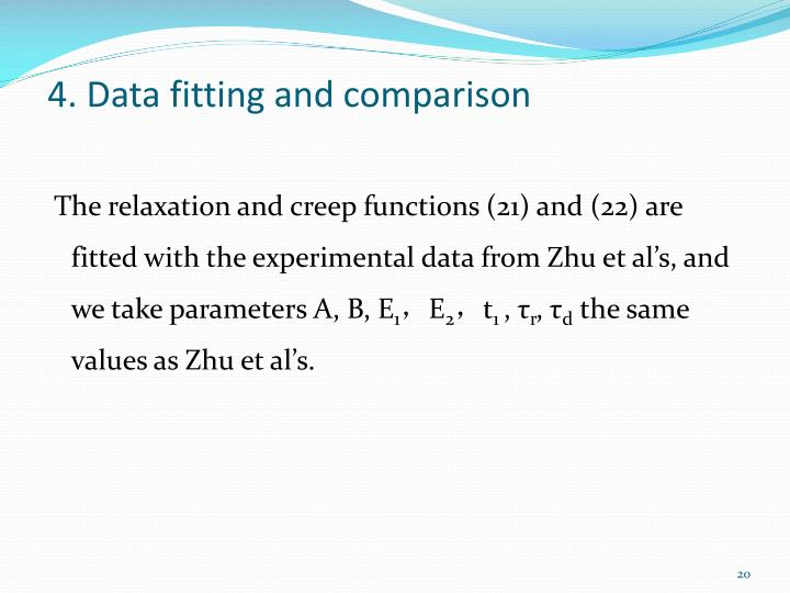4. Data fitting and comparison