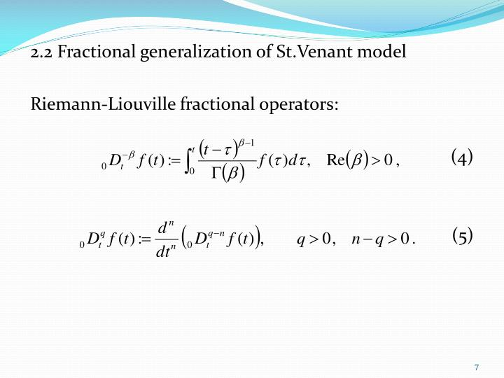 2.2 Fractional generalization of