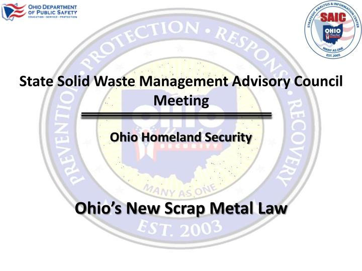 State Solid Waste Management Advisory Council Meeting