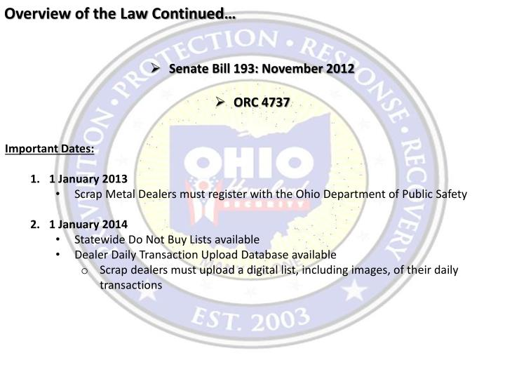 Overview of the Law Continued…