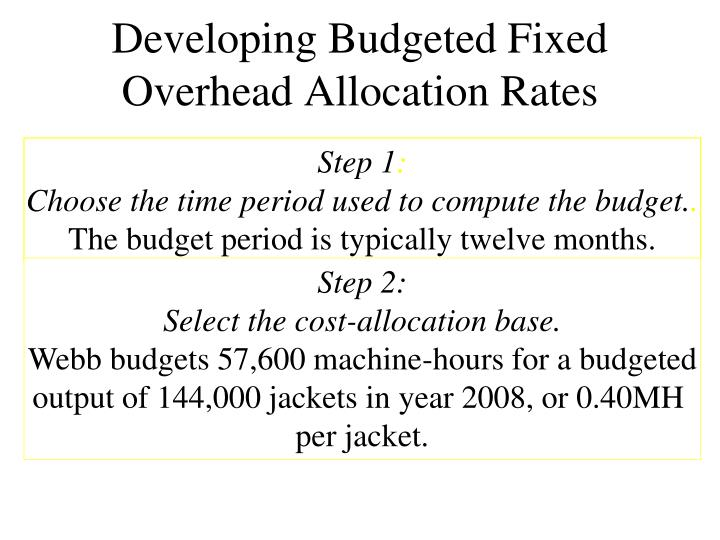 Developing Budgeted Fixed