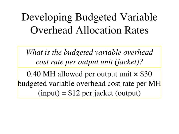 Developing Budgeted Variable
