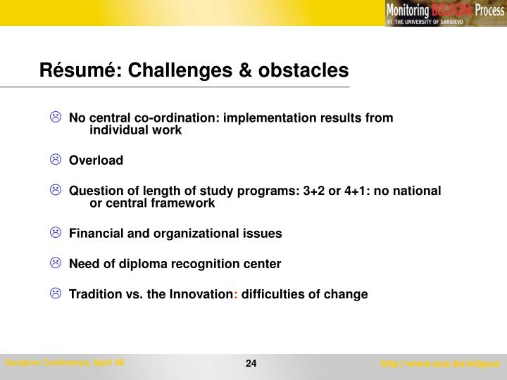 Résumé: Challenges & obstacles
