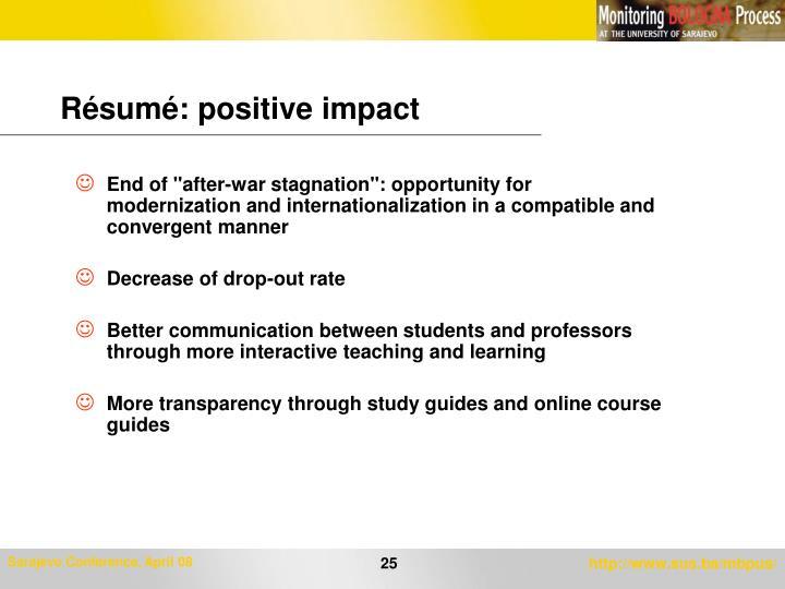 Résumé: positive impact