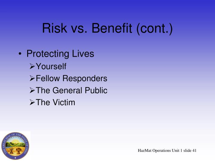 Risk vs. Benefit (cont.)
