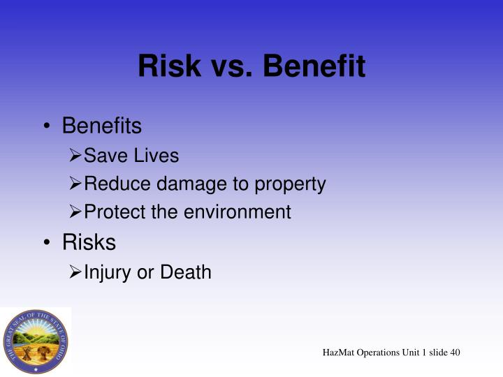 Risk vs. Benefit