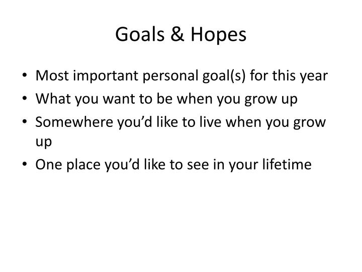Goals & Hopes