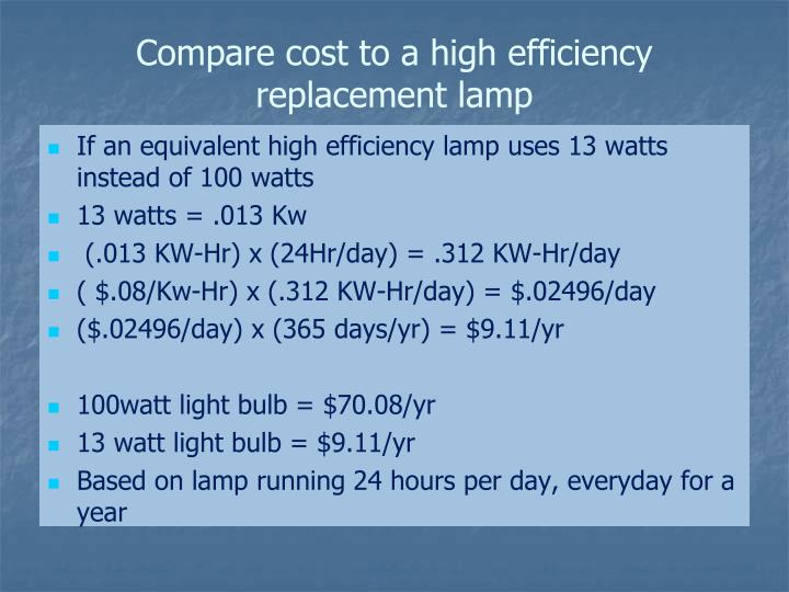 Compare cost to a high efficiency replacement lamp
