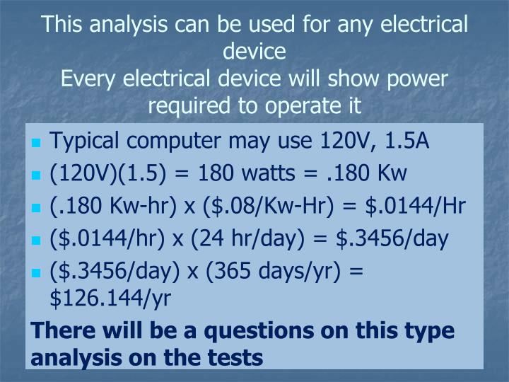 This analysis can be used for any electrical device