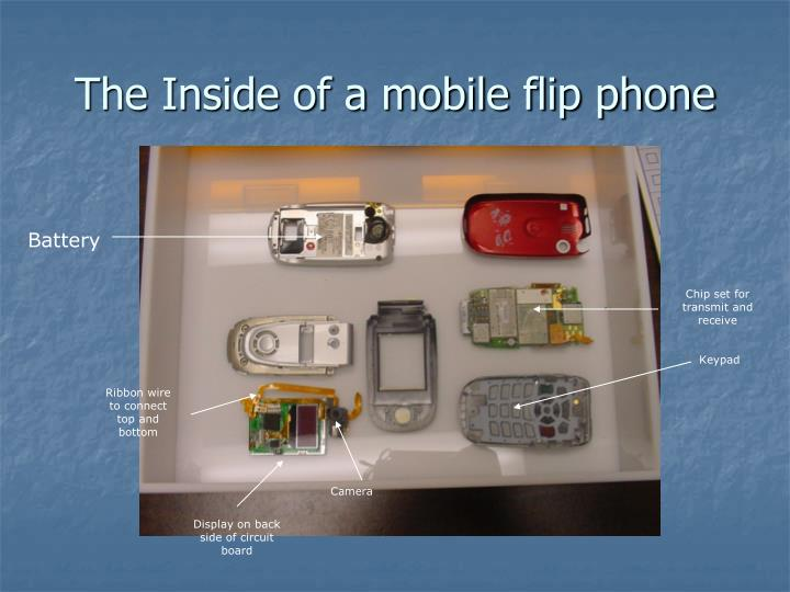 The Inside of a mobile flip phone