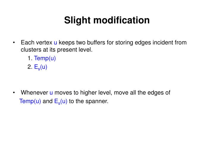 Slight modification