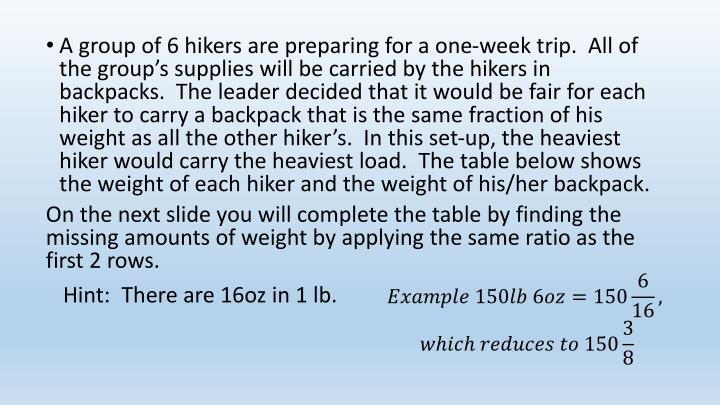 A group of 6 hikers are preparing for a one-week trip.  All of the group's supplies will be carried by the hikers in backpacks.  The leader decided that it would be fair for each hiker to carry a backpack that is the same fraction of his weight as all the other hiker's.  In this set-up, the heaviest hiker would carry the heaviest load.  The table below shows the weight of each hiker and the weight of his/her backpack.