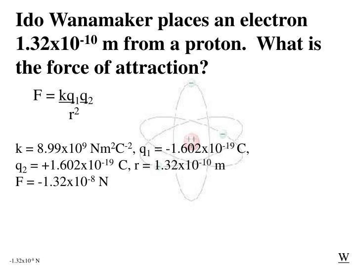 Ido Wanamaker places an electron 1.32x10