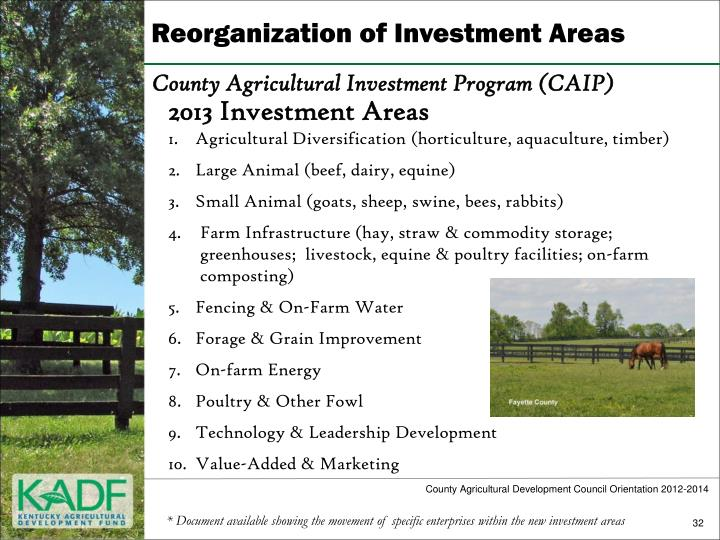 Reorganization of Investment Areas